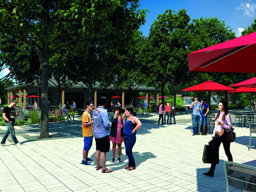 Le Place Saint-Donat destinée à redonner une vie plus active au centre du village est le premier pas d'un projet qui se déroulera sur plusieurs phases. (Photo gracieuseté)