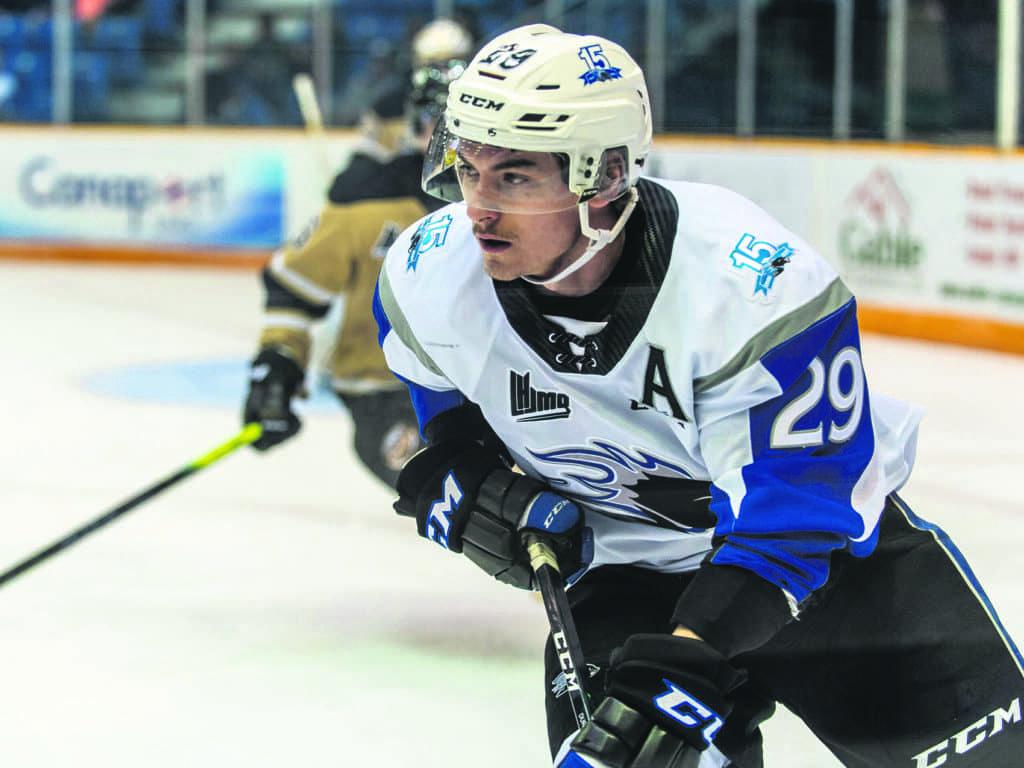 L'Agathois Jeffrey Durocher est passé récemment de la LHJMQ au hockey universitaire. (Photo gracieuseté)